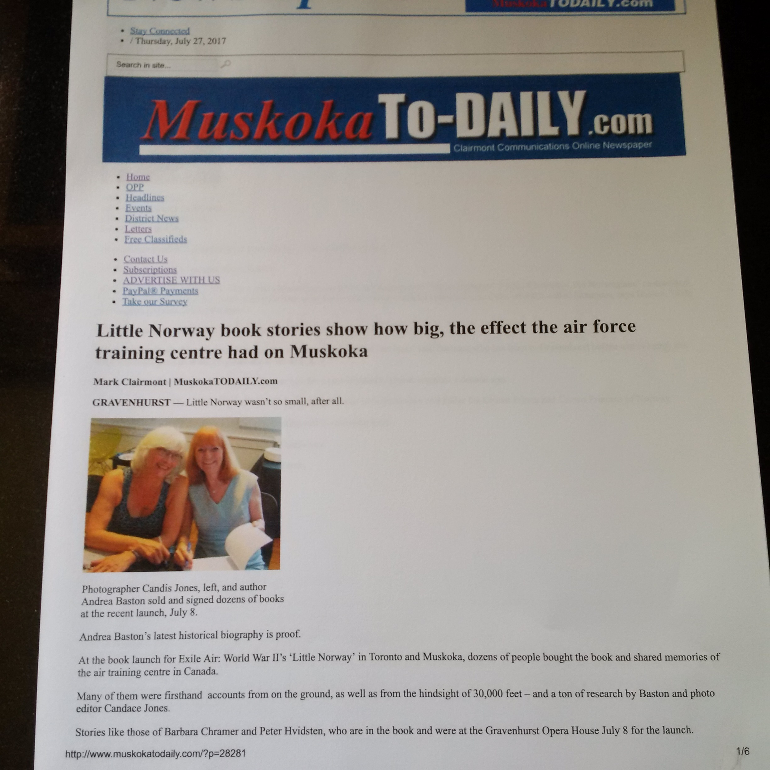 Muskoka Todaily.com writes about Exile Air Launch